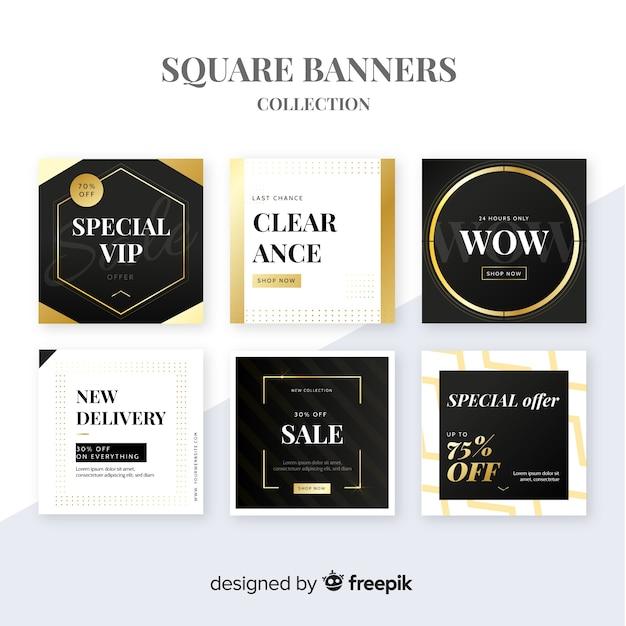 Promotion square banner collectio Vecteur gratuit