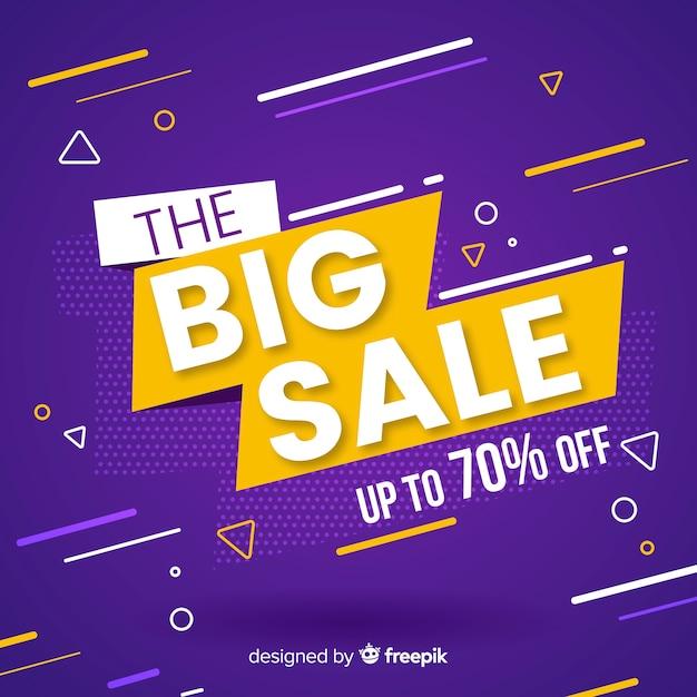 Promotion de vente plat fond violet Vecteur gratuit