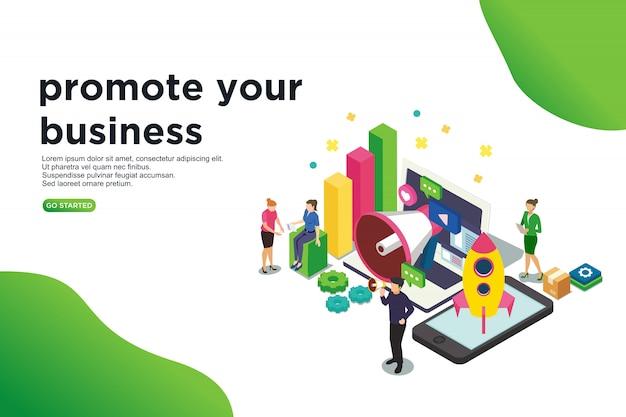 Promouvoir votre concept d'illustration vectorielle isométrique d'affaires Vecteur Premium