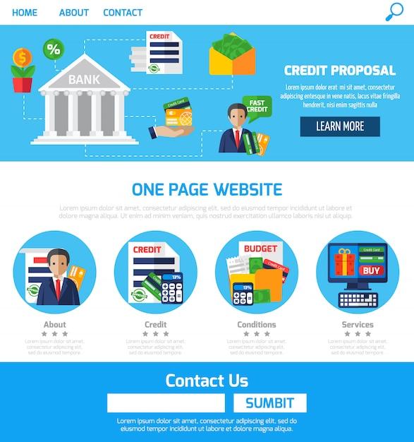 Propositions de crédit d'une page pour site web Vecteur gratuit
