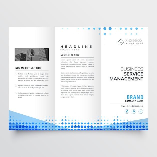 Propre conception de la brochure à trois volets avec effet abstrait bleu Vecteur gratuit