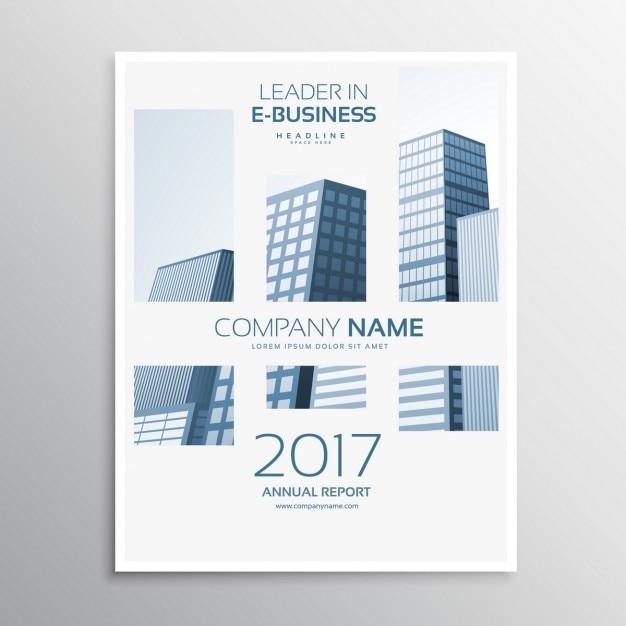 Propre couverture de magazine brochure d'entreprise de conception de modèle avec buldings Vecteur gratuit
