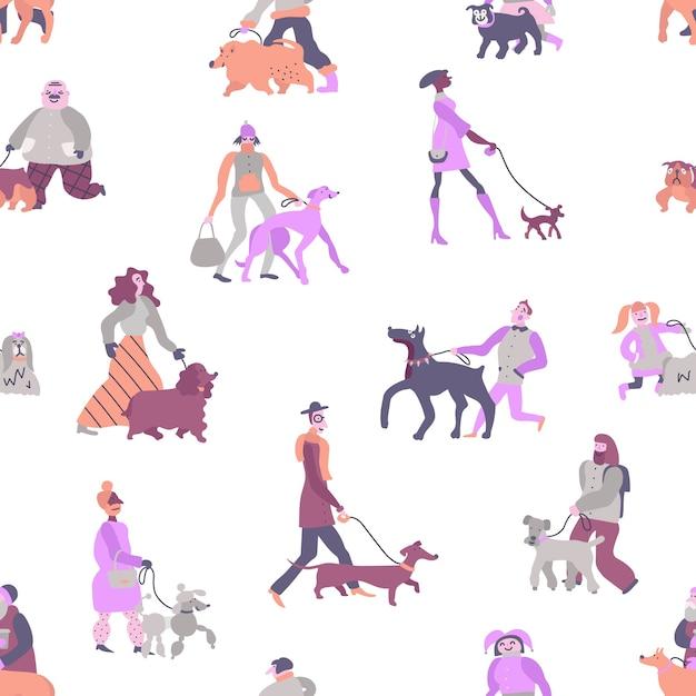 Propriétaires De Chiens Avec Des Animaux Domestiques, Y Compris Caniche, Terrier, Lévrier Et Modèle Sans Couture De Teckel Vecteur gratuit
