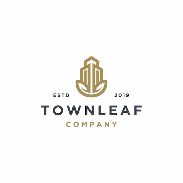Propriété Immobilière Avec Modèle De Logo Leaf Vecteur Premium