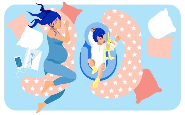 Prospective Mère Et Bébé Dormant Dans Un Grand Lit Vecteur Premium