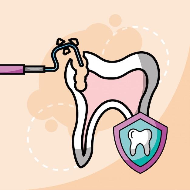 Protection Des Dents Et Des Boucliers Des Instruments Dentaires Vecteur Premium