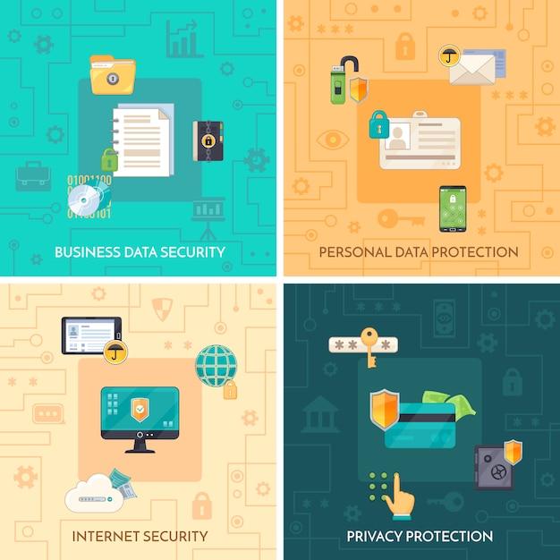 Protection des données 4 icônes plates square Vecteur gratuit