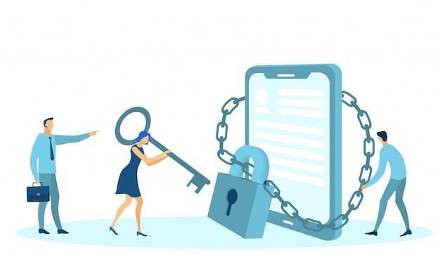 Protection Des Données, Médias Sociaux, Gadget De Téléphone Verrouillé. Vecteur Premium