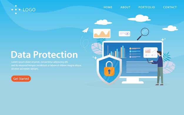 Protection des données, modèle de site web, en couches, facile à modifier et à personnaliser, concept d'illustration Vecteur Premium