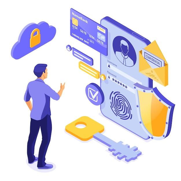 Protection Des Données Personnelles, Sécurité Internet. Vecteur Premium