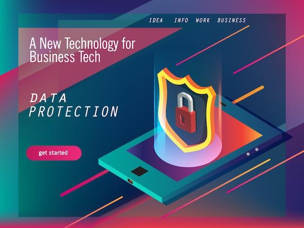 Protection des données pour la technologie moderne Vecteur Premium