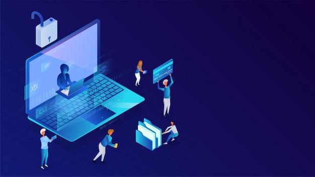 Protection des données ou sécurité, gens d'affaires travaillant et pirate essayant de pirater les données d'un ordinateur portable pour le concept de piratage. Vecteur Premium