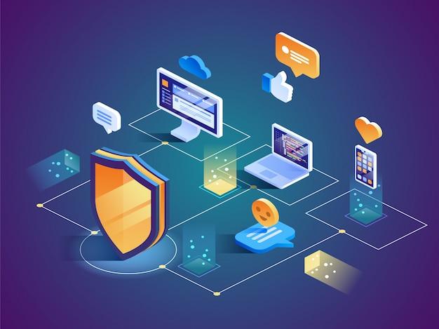 Protection des données de sécurité isométrique Vecteur Premium