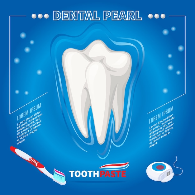 Protection Isométrique Du Concept De Perle Dentaire Avec Du Dentifrice Et De La Soie Dentaire Brosse à Dents Saine Isolé Vecteur gratuit