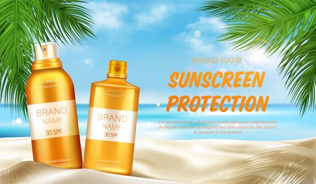 Protection solaire cosmétique Vecteur gratuit