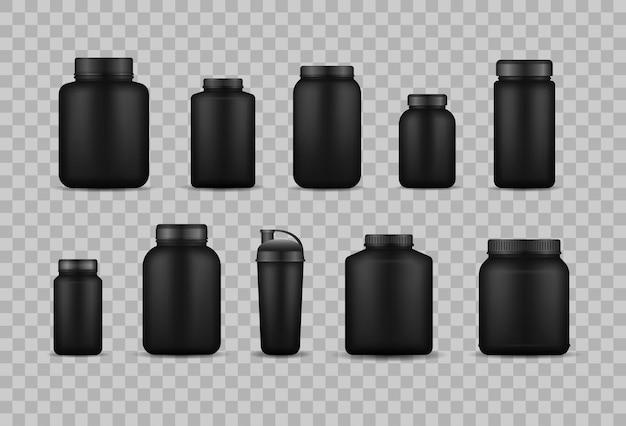 Protéine De Lactosérum Et Pot En Plastique Noir, Bouteille. Vecteur Premium