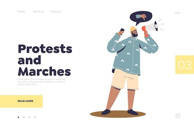Protestations Et Marches Concept De Page De Destination Avec Un Activiste Protestataire Vecteur Premium