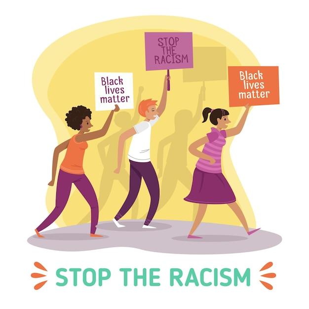 Protester Contre Le Racisme Vecteur Premium