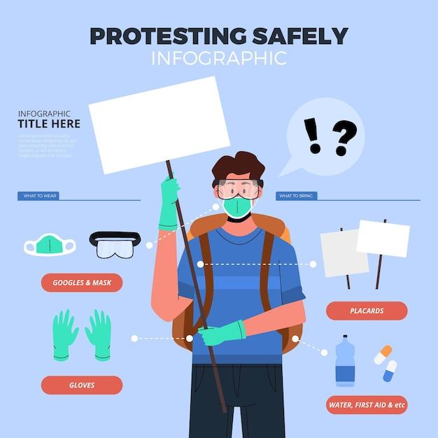 Protester En Toute Sécurité - Concept Infographique Vecteur gratuit