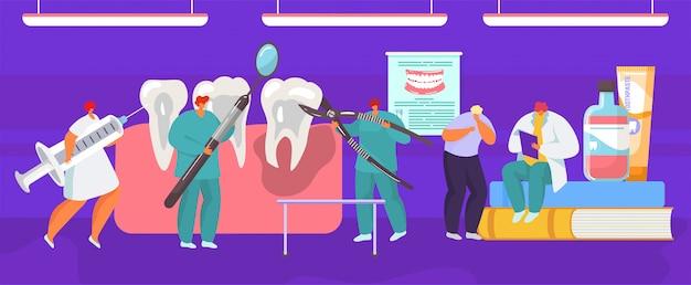Prothèse Médicale Dentaire D'extraction De Dent Par Un Chirurgien Dentiste, Illustration De Dessin Animé D'anatomie De La Bouche. Vecteur Premium