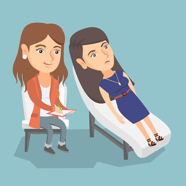 Psychologue caucasien ayant séance avec patient Vecteur Premium