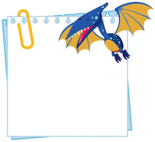 Pteranodon sur le modèle de note Vecteur Premium