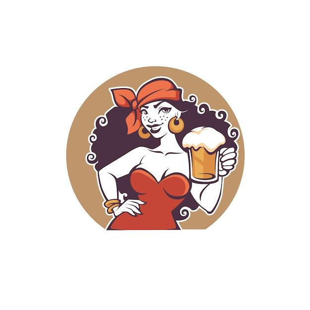 Pub Party, Portrait De Belle Dame De Dessin Animé Tenir Une Bière Pression Vecteur Premium