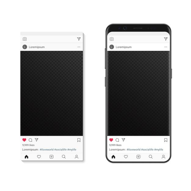 Publication D'image De Réseau Social Sur L'écran Du Smartphone. Compositeur De Cadre Photo De Médias Sociaux Vecteur Premium