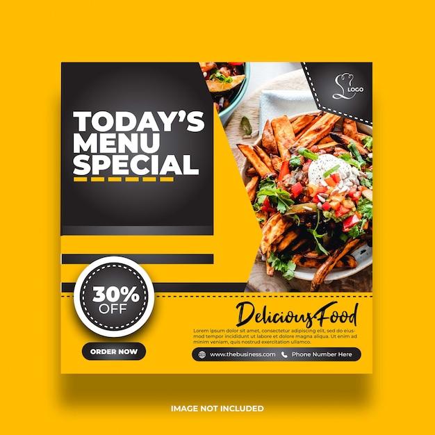 Publication De Médias Sociaux De Bannière De Nourriture Créative Vecteur Premium