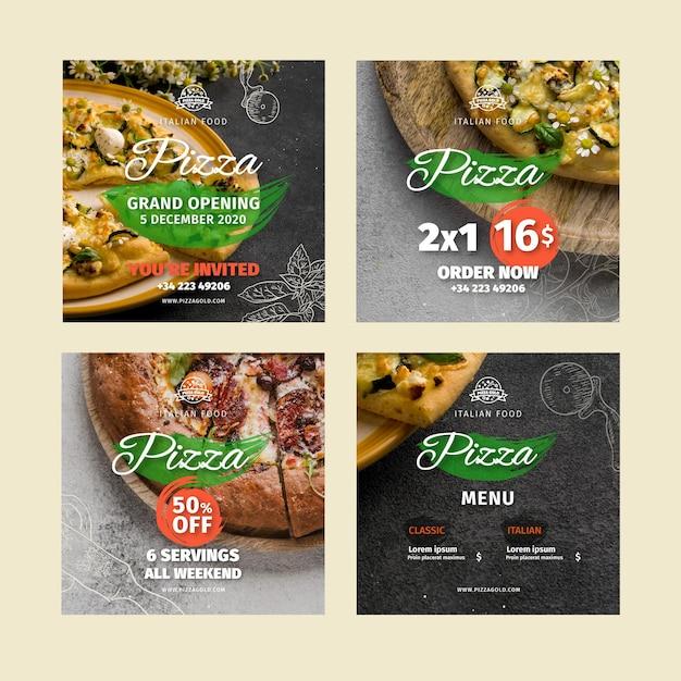 Publications Sur Les Réseaux Sociaux Des Restaurants De Pizza Vecteur gratuit