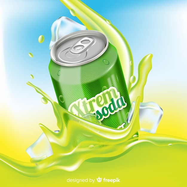 Publicité de boisson réaliste sur fond abstrait Vecteur gratuit