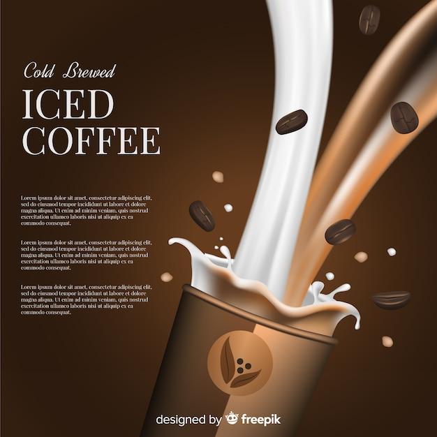 Publicité de café glacé réaliste Vecteur gratuit