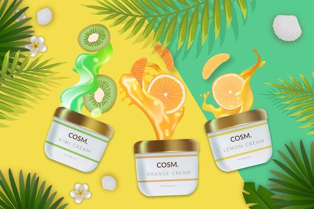 Publicité cosmétique commerciale avec des produits de soin de la peau Vecteur gratuit