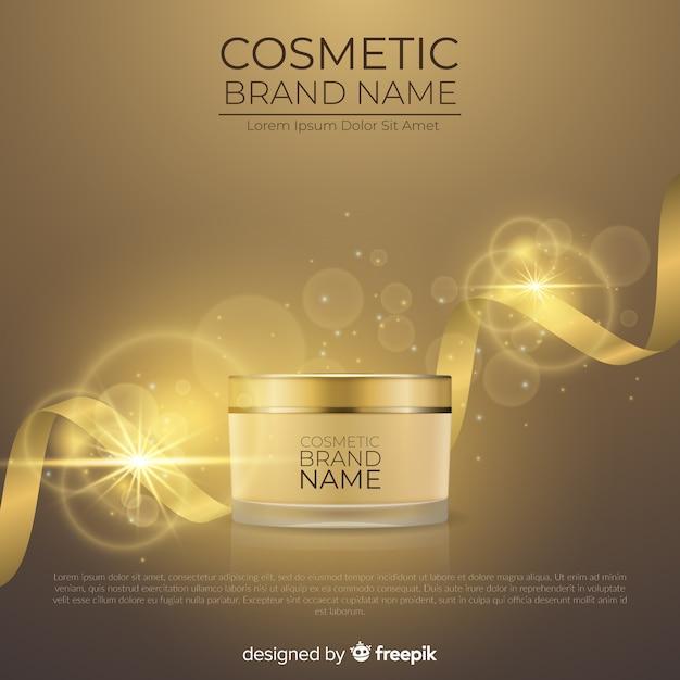 Publicité cosmétique avec un design réaliste Vecteur gratuit