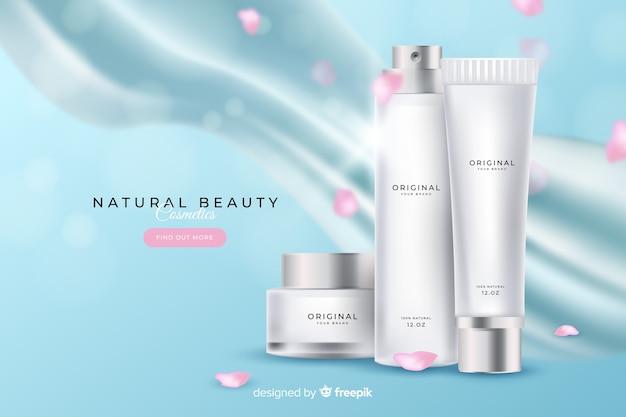 Publicité cosmétique naturelle réaliste Vecteur gratuit