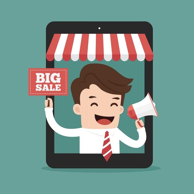 Publicité en ligne de l'homme d'affaires Vecteur Premium