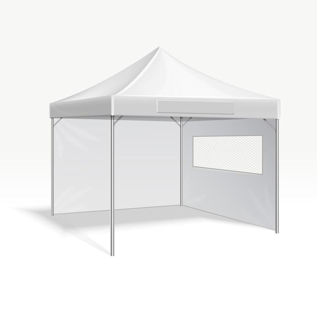 Publicité promotionnelle pliant illustration vectorielle tente pour événement en plein air. protection du cadre de couverture f Vecteur Premium