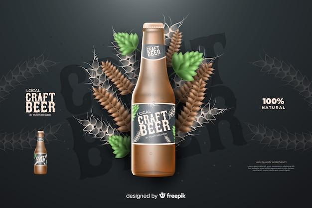 Publicité Réaliste Sur La Bière Vecteur gratuit
