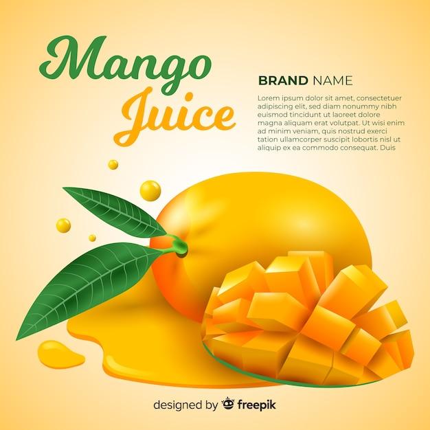 Publicité réaliste de jus de mangue Vecteur gratuit