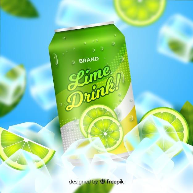 Publicité réaliste de soda à la lime Vecteur gratuit