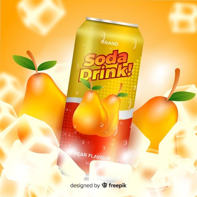 Publicité réaliste de soda à la poire Vecteur gratuit