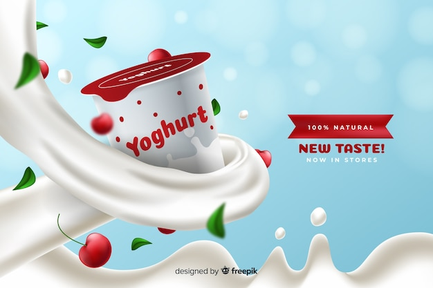 Publicité réaliste de yaourt aux cerises Vecteur gratuit