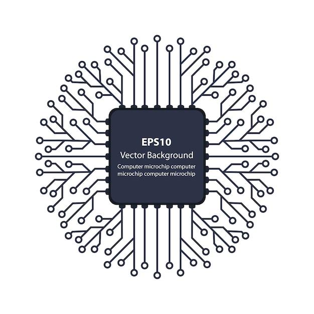 Puce de fond électronique Vecteur Premium