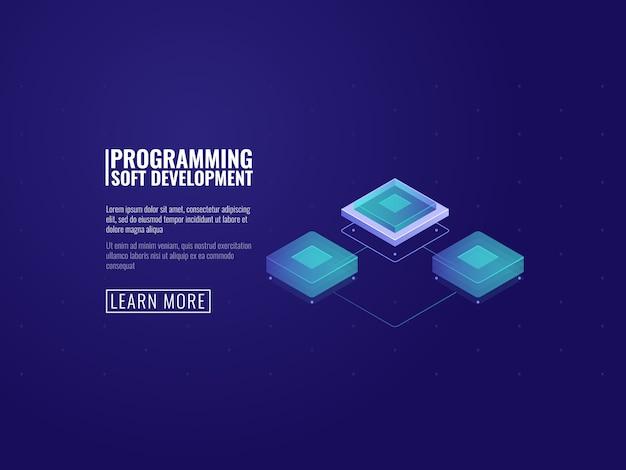 Puce informatique futuriste, salle de serveurs et concept de transfert de données Vecteur gratuit
