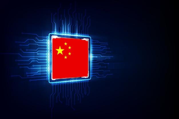 Puces informatiques sur fond numérique avec le drapeau de la chine Vecteur Premium