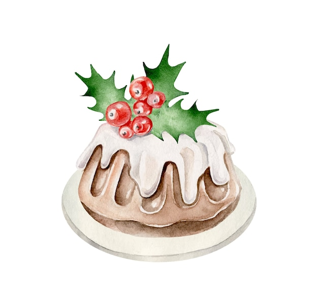 Pudding De Noël Dessert Du Nouvel An Vecteur Premium