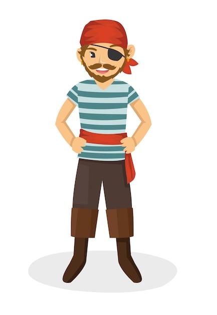 Un puissant pirate aux yeux vêtus d'un foulard rouge Vecteur Premium