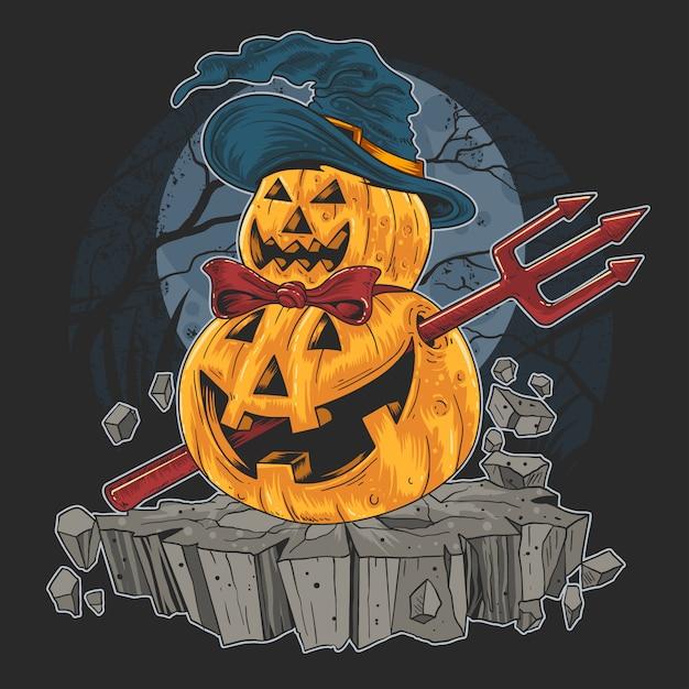 Pumpkin halloween trick ou traiter le travail de red devil Vecteur Premium