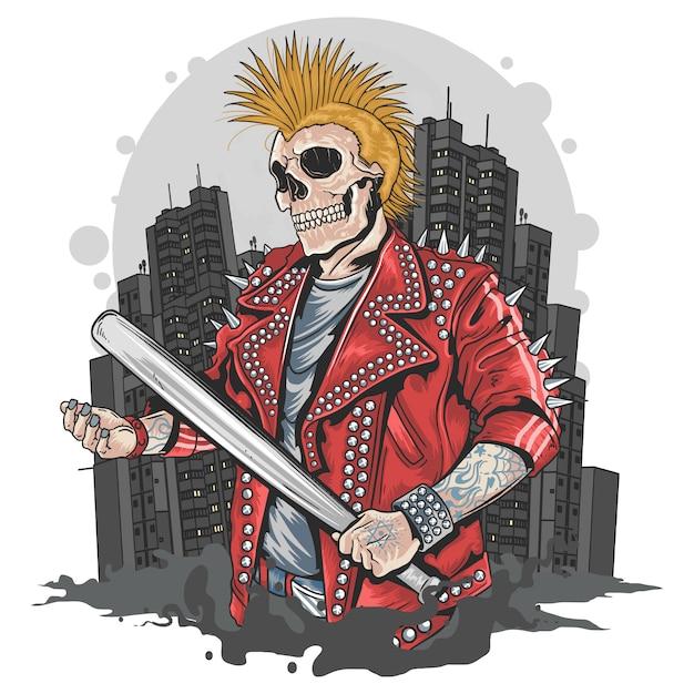 Punk gangster skull avec bat de baseball Vecteur Premium