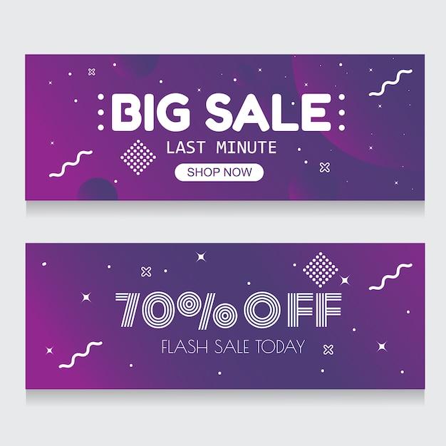 Purple banner background abstract vente flash 70% de rabais Vecteur Premium